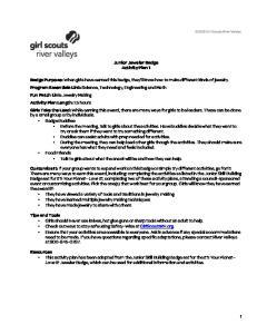 Junior Jeweler Badge Activity Plan 1