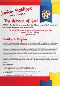 Junior Soldiers. Consider & Prepare. Unit 1 : Lesson 9