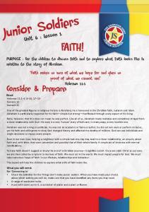Junior Soldiers FAITH! Consider & Prepare. Unit 6 : Lesson 1