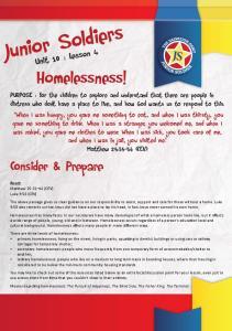 Junior Soldiers. Homelessness! Consider & Prepare. Unit 10 : Lesson 4