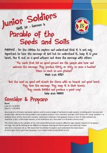 Junior Soldiers. Parable of the. Seeds and Soils. Consider & Prepare. Unit 12 : Lesson 5