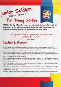 Junior Soldiers. The Young Soldier. Consider & Prepare. Unit 11 : Lesson 3