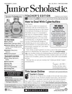 juniorscholastic. November 9, 2009 Vol. 112, No. 6 ISSN