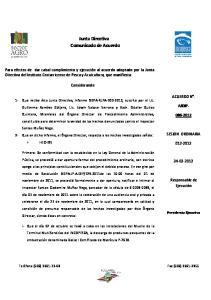 Junta Directiva Comunicado de Acuerdo