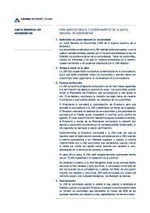 JUNTA GENERAL DE ACCIONISTAS REGLAMENTO PARA EL FUNCIONAMIENTO DE LA JUNTA GENERAL DE ACCIONISTAS