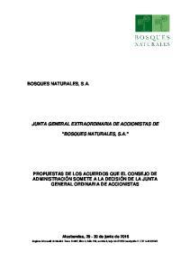 JUNTA GENERAL EXTRAORDINARIA DE ACCIONISTAS DE