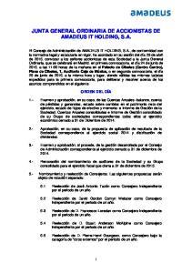 JUNTA GENERAL ORDINARIA DE ACCIONISTAS DE AMADEUS IT HOLDING, S.A
