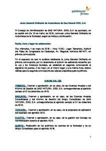 Junta General Ordinaria de Accionistas de Gas Natural SDG, S.A