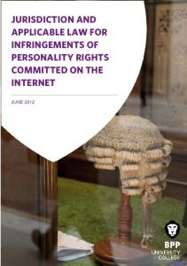 JURISDICTION AND APPLICABLE LAW FOR INFRINGEMENTS OF PERSONALITY RIGHTS COMMITTED ON THE INTERNET