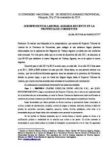 JURISPRUDENCIA LABORAL AGRARIA RECIENTE EN LA PROVINCIA DE CORRIENTES