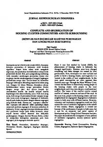 JURNAL KEPENDUDUKAN INDONESIA CONFLICTS AND SEGREGATION OF HOUSING CLUSTER COMMUNITIES AND ITS SURROUNDING