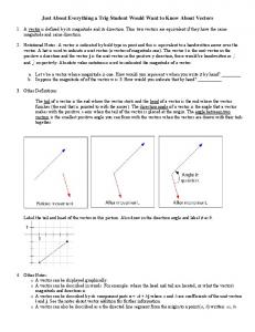 Just About Everything a Trig Student Would Want to Know About Vectors