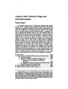 Justice at Work: Minimum Wage Laws and Social Equality