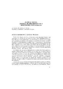 JUSTICIA SOCIAL, JUSTICIA DE PROCEDIMIENTO Y DIMENSIONES PSICOLOGICAS