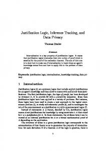 Justification Logic, Inference Tracking, and Data Privacy