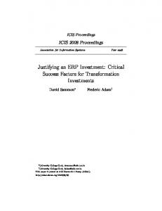 Justifying an ERP Investment: Critical Success Factors for Transformation Investments