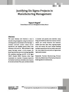 Justifying Six Sigma Projects in Manufacturing Management