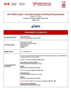 Juvenile Canadian Wrestling Championships APRIL 4 6, 2014 University of Guelph Gryphon Field House Guelph, ON