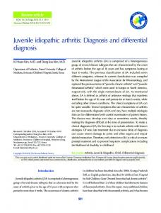 Juvenile idiopathic arthritis: Diagnosis and differential diagnosis