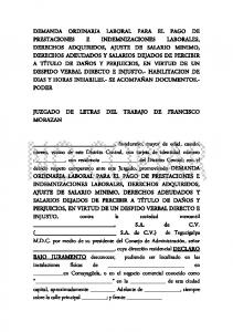 JUZGADO DE LETRAS DEL TRABAJO DE FRANCISCO MORAZAN