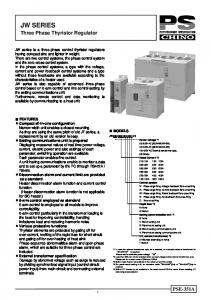 JW SERIES. Three Phase Thyristor Regulator PSE-351A