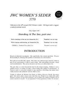 JWC WOMEN S SEDER 5770