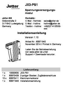 JX3-PS1. Installationsanleitung. Version Lieferumfang