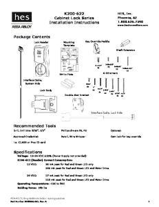 K Cabinet Lock Series Installation Instructions