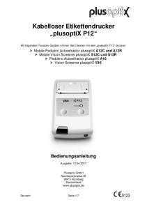 Kabelloser Etikettendrucker plusoptix P12