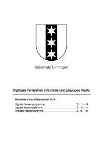 Kabelnetz Binningen. Digitales Fernsehen Digitales und analoges Radio