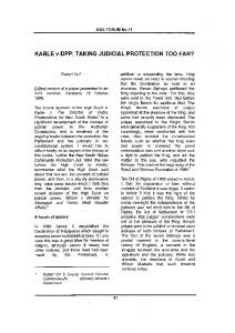 KABLE v DPP: TAKING JUDICIAL PROTECTION TOO FAR?
