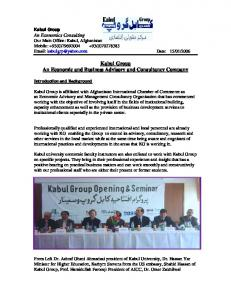 Kabul Group An Economic and Business Advisory and Consultancy Company