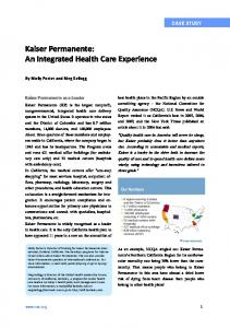 Kaiser Permanente: An Integrated Health Care Experience