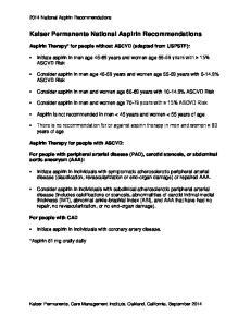 Kaiser Permanente National Aspirin Recommendations
