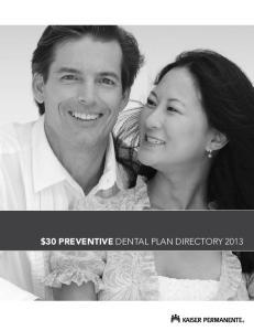 Kaiser Permanente Preventive Dental Plan $30 Copayment Directory