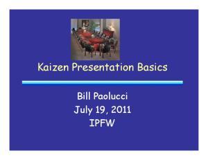 Kaizen Presentation Basics Bill Paolucci July 19, 2011 IPFW