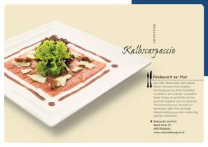Kalbscarpaccio. Restaurant zur Post VORSPEISE