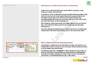 Kalkulationen und Tabellen dokumentieren und beschreiben