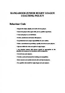 KANGAROOS JUNIOR RUGBY LEAGUE COACHING POLICY