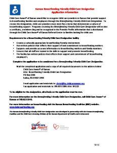 Kansas Breastfeeding Friendly Child Care Designation Application Information