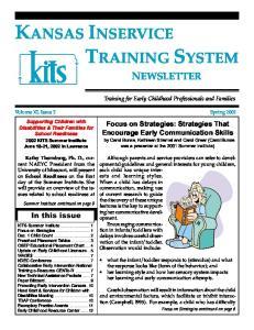 KANSAS INSERVICE TRAINING SYSTEM NEWSLETTER