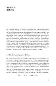 Kapitel 1 Zahlen. 1.1 Rechnen mit ganzen Zahlen