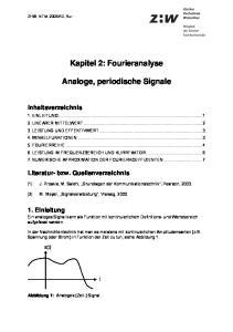 Kapitel 2: Fourieranalyse. Analoge, periodische Signale