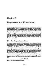 Kapitel 7. Regression und Korrelation. 7.1 Das Regressionsproblem