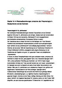 Kapitel Wechselbeziehungen zwischen der Pneumologie in Deutschland und der Schweiz