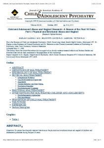 KAPLAN: J Am Acad Child Adolesc Psychiatry, Volume 38(10).October Copyright 1999 American Academy of Child and Adolescent Psychiatry