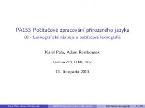 Karel Pala, Adam Rambousek. 11. listopadu 2013