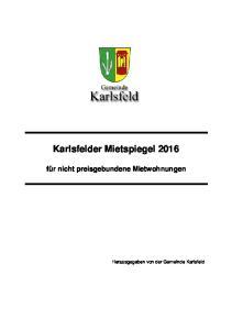 Karlsfelder Mietspiegel 2016 für nicht preisgebundene Mietwohnungen