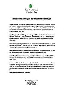 Karlsruhe. Handelsbezeichnungen der Fruchtzubereitungen