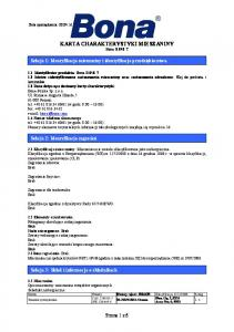 KARTA CHARAKTERYSTYKI MIESZANINY Bona R 848 T
